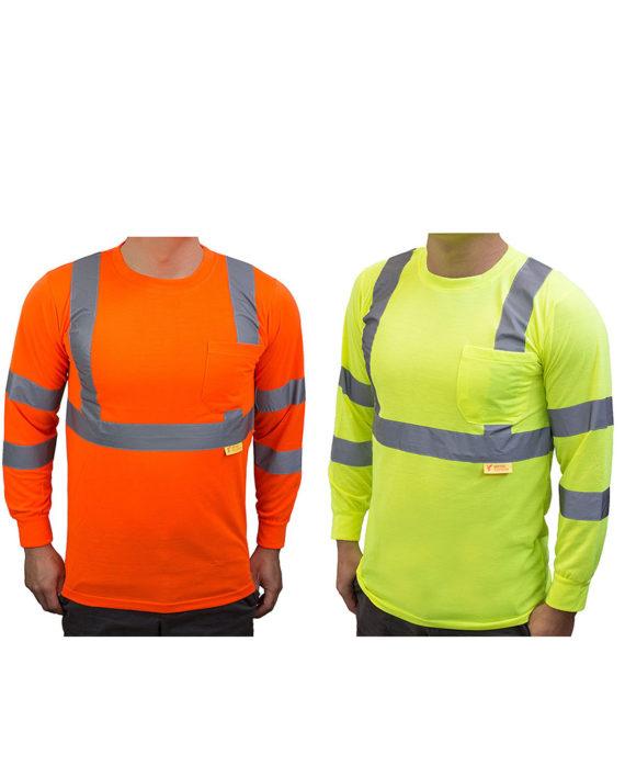 d3c0ba523b22f Home / Hi Vis Apparel / T-Shirts / Class 3 High Visibility Reflective Long  Sleeve ANSI Safety Shirt