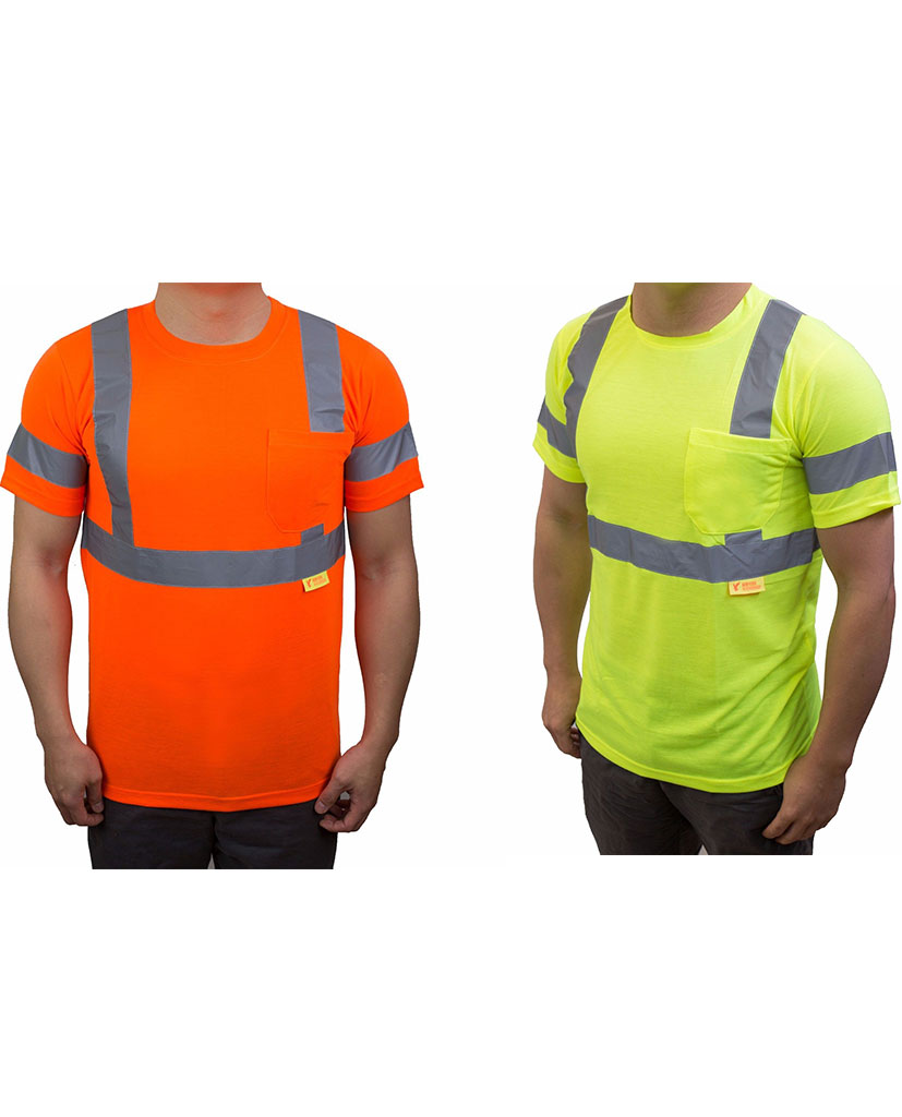 Class 3 high visibility reflective short sleeve ansi for Hi vis safety shirts