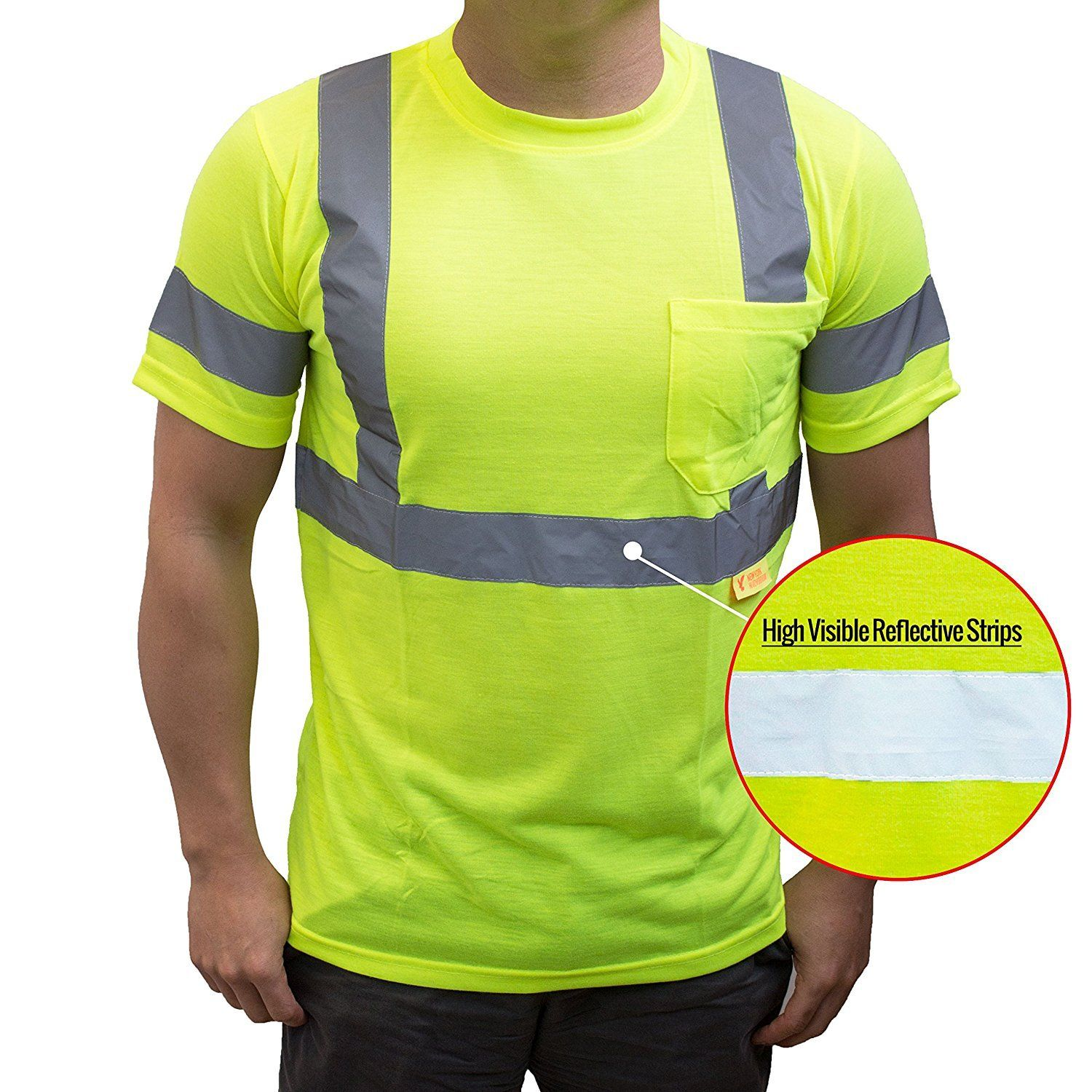Class 3 high visibility reflective short sleeve ansi for Hi vis shirts with reflective tape